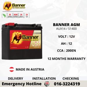 BANNER RUNNING BULL AGM YTX14-BS 51214 BATTERY