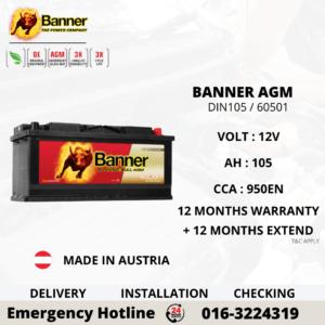 BANNER RUNNING BULL AGM DIN105 60501 CAR BATTERY