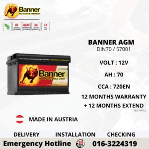 BANNER RUNNING BULL AGM DIN70 57001 CAR BATTERY