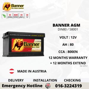 BANNER RUNNING BULL AGM DIN 80 58001 CAR BATTERY